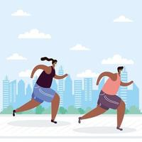 personas con mascarillas corriendo al aire libre vector