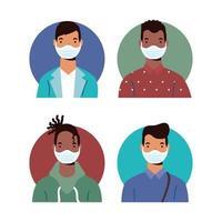 diversos personajes masculinos con máscaras faciales vector