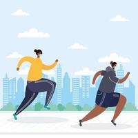 personas con mascarillas corriendo al aire libre