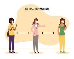 Diverso distanciamiento social de mujeres con mascarillas vector