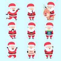 Set Of Santa Clause Characters Cartoon Bundle vector