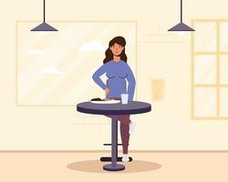 mujer joven sentada en un restaurante vector