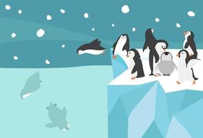fondo de paisaje pequeño grupo de pingüinos árticos del polo norte de invierno vector