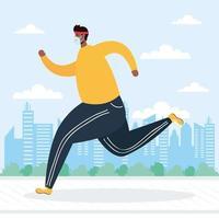 hombre con mascarilla corriendo al aire libre vector