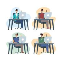 personas que trabajan en la computadora con mascarillas vector