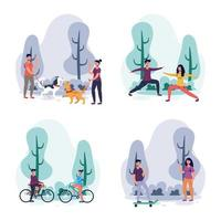 People doing outdoors activities in the park vector