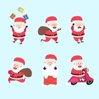 Set Of Santa Clause Activity Character Cartoon Bundle vector