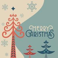 Plantilla web de árbol de pino popular retro de feliz navidad