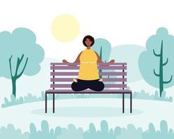 Woman practicing yoga in the park vector