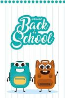 Kawaii school supplies characters for back to school vector
