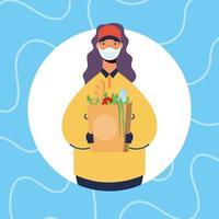 Entrega de comida segura en línea con trabajadora.