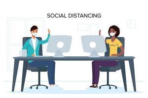 personas con mascarillas distanciamiento social en el trabajo vector