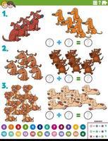 Suma de matemáticas tarea educativa con perros.