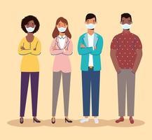 personajes de personas diversas con máscaras faciales