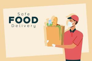 banner de concepto de entrega de alimentos seguros