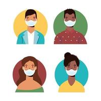 diversidad de personajes de personas con máscaras faciales