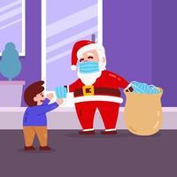 navidad santa personaje dando mascarilla