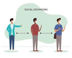 personas diversas distanciamiento social con mascarillas