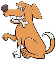 Cartoon sitting dog animal character with bone