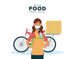 concepto de entrega segura de alimentos con mensajería en bicicleta