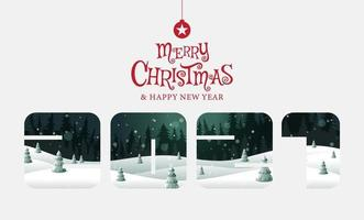 Merry Christmas, happy new year fantasy landscape vector