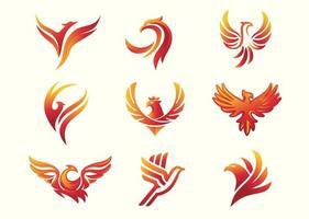 Phoenix bird symbol set vector