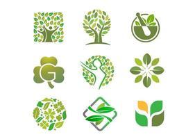 colección de logotipos de personas, árboles y hojas vector