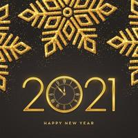 Happy New Year gold metallic numbers 2021