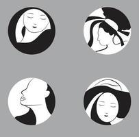 emblemas femeninos en blanco y negro vector