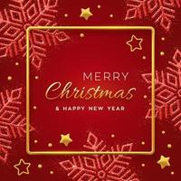 Christmas red background with shining snowflakes vector