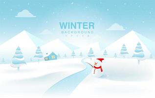 Christmas Winter Landscape with Snowman vector