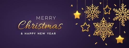 Christmas purple background with hanging shining golden snowflakes