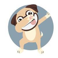 Smiling Pug Dabbing vector