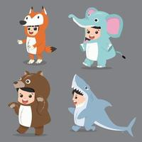 Set of cartoon kid characters in animal costumes