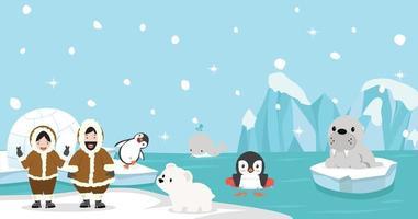 gente y animales árticos vector