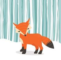 zorro de dibujos animados lindo en el fondo de invierno vector