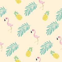 Cute pink flamingo tropical pattern vector