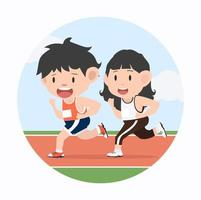 Young man and woman jogging marathon in racetrack vector