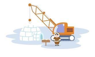 Igloo ice house with crane vector
