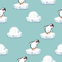 Funny Penguin With Igloo Ice House Pattern vector