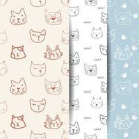 Seamless Cat Heads Pattern Set vector