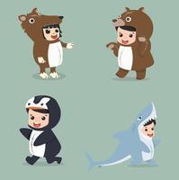 Set of cartoon little kid in Animals costumes vector