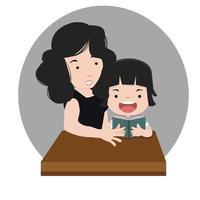 madre leyendo con hija vector