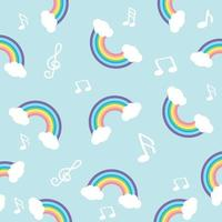 Pastel rainbow with note seamless pattern