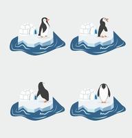 Cute penguins on a piece of iceberg set vector
