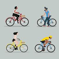 Man and Woman Riding a Bicycle  Set