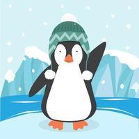 lindo pingüino con sombrero en témpano de hielo vector