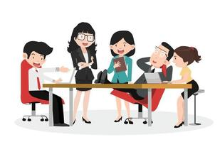 Set of business characters working in office concept vector