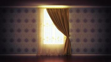 empty room with window and curtain