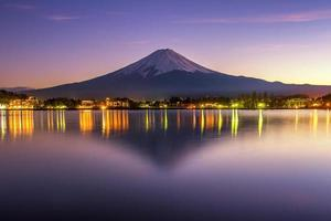 beautiful scece susnset reflection of mt.Fuji